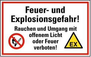 Warn-, Hinweis- und Verbotsschild Feuer- und Explosionsgefahr KU 200x300