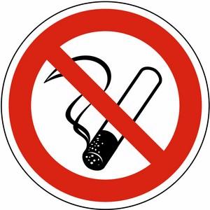 Verbotsschild DIN 4844 Rauchen verboten FO Ø 200