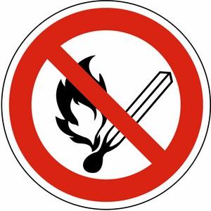 Verbotsschild DIN 4844 Feuer, offenes Licht und Rauchen verboten KP Ø 200