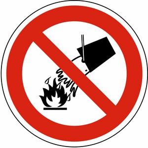 Verbotsschild DIN 4844 Verbot mit Wasser zu löschen AL Ø 200