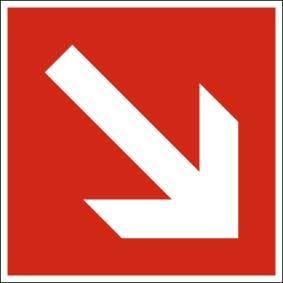 Brandschutzzeichen ISO 7010 Richtungspfeil diagonal KN