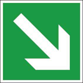 Rettungszeichen ISO 7010 Richtungsangabe diagonal 150 KN