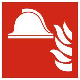 Brandschutzzeichen ISO 7010 Mittel und Geräte zur Brandbekämpfung FN