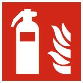 Brandschutzzeichen ISO 7010 Feuerlöscher KU 200x200Ausführung TOTAL