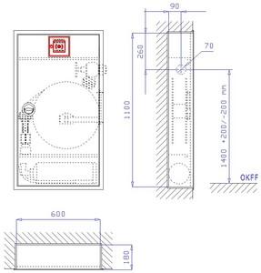 WH-Schrank EM 6-140, VA-RS, grau, UG