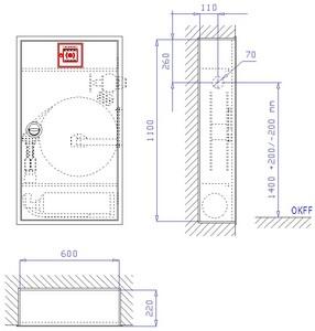 WH-Schrank EM 12-140, VA-LR, grau, WM